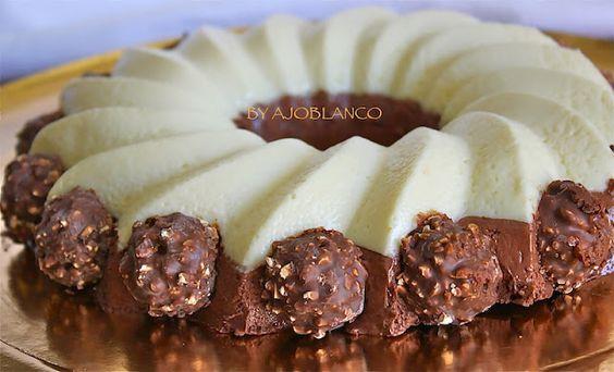 Tarta Mousse de Chocolate Blanco y Negro | AJOBLANCO