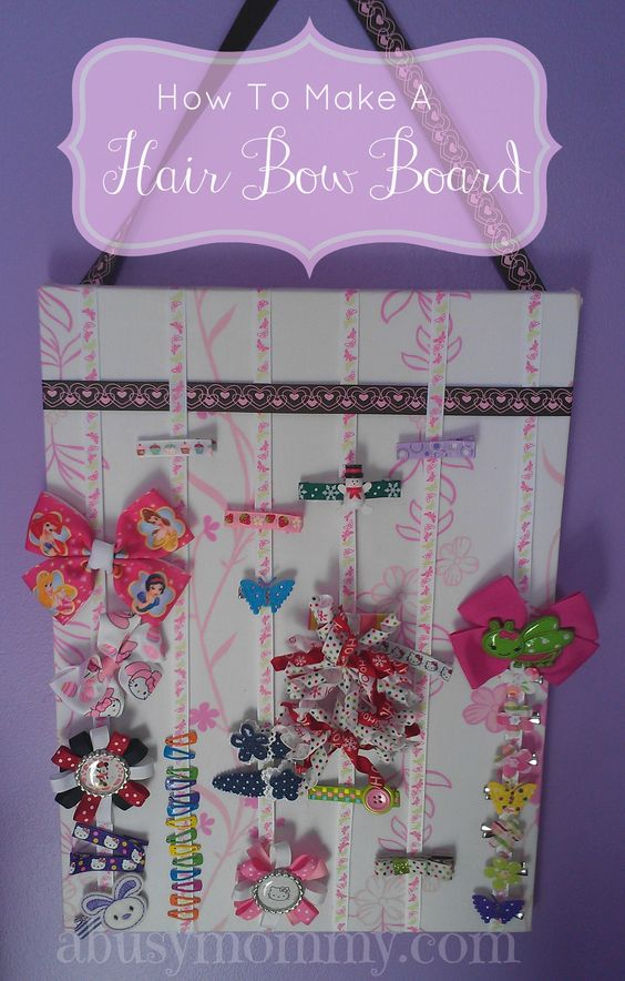 Tired of losing all those pretty hair bows?  Quick and easy solution and customizable to any kids room designs.