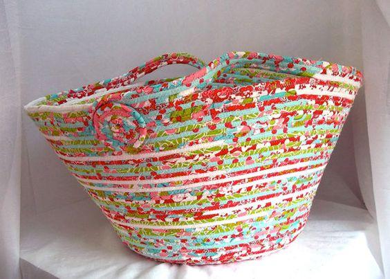 Red Fabric Hamper Handmade Aqua Clothes Basket by WexfordTreasures, $79.99