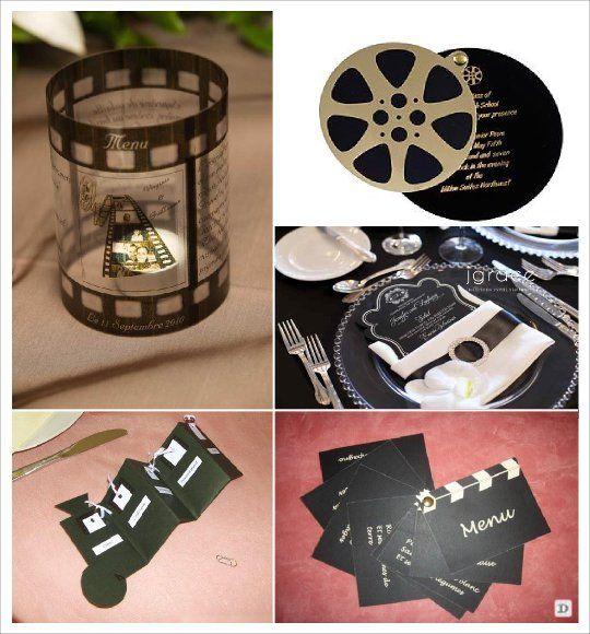 décoration mariage thème cinema menu camera, clap  bobine de film boîtier photophore