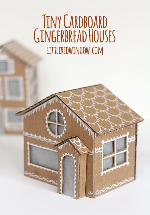 Tiny Cardboard Gingerbread Houses This Weekend Card