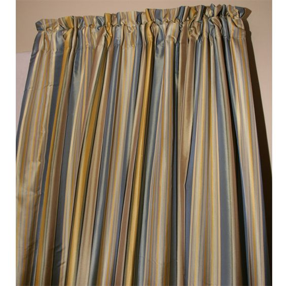 robin stripe dupioni silk curtain panel la vi a