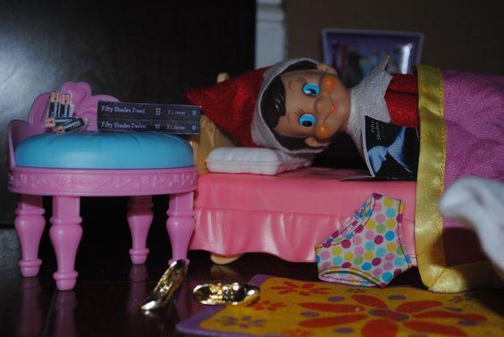 """Elf on the Shelf enjoying """"Fifty Shades of Grey"""""""