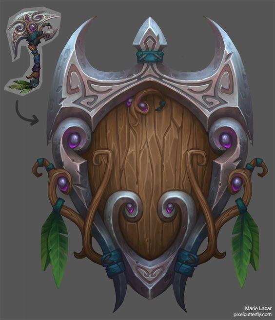 World of Warcraft weapon remixes, Marie Lazar on ArtStation at https://www.artstation.com/artwork/g9enP