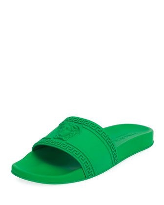 Versace Mens Medusa & Greek Key Shower Slide Sandals