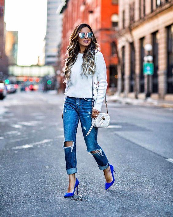 Cómo Combinar El Color De Los Zapatos Con Tu Outfit Como Combinar Zapatos Azules Jeans De Moda Moda