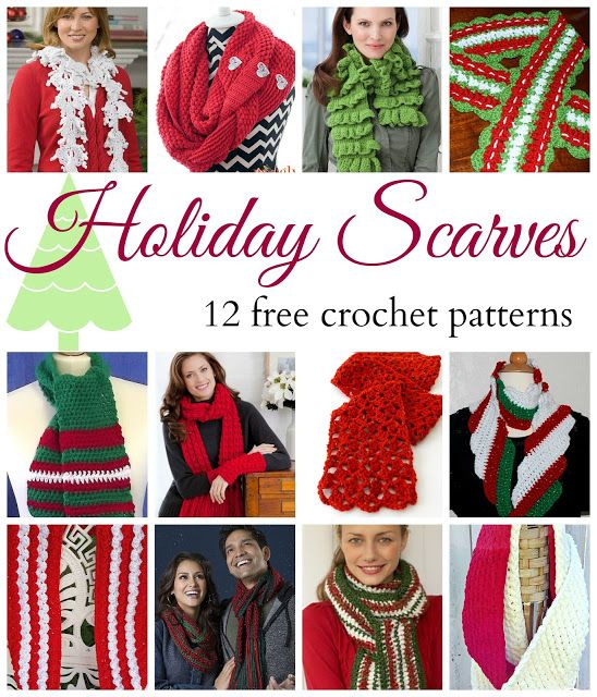 Holiday Scarves! 12 Beautiful & Free Crochet Patterns, roundup on Fiber Flux