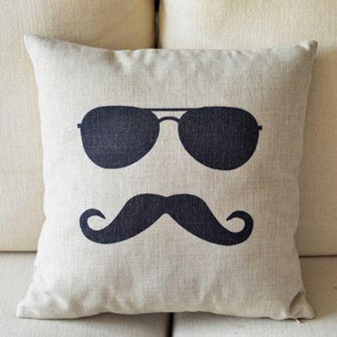 Mr. Moustache Print Decorative Pillow