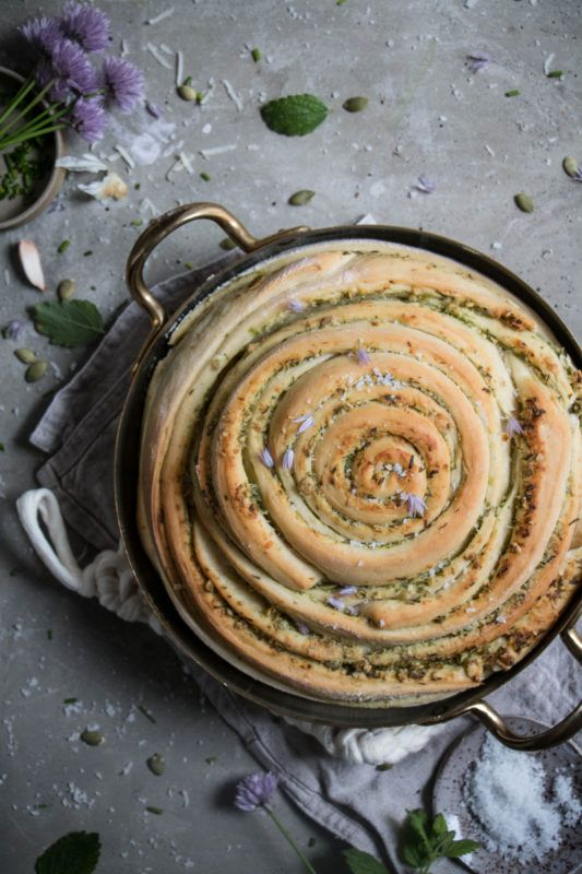 chive and pumpkin seed pesto swirl loaf