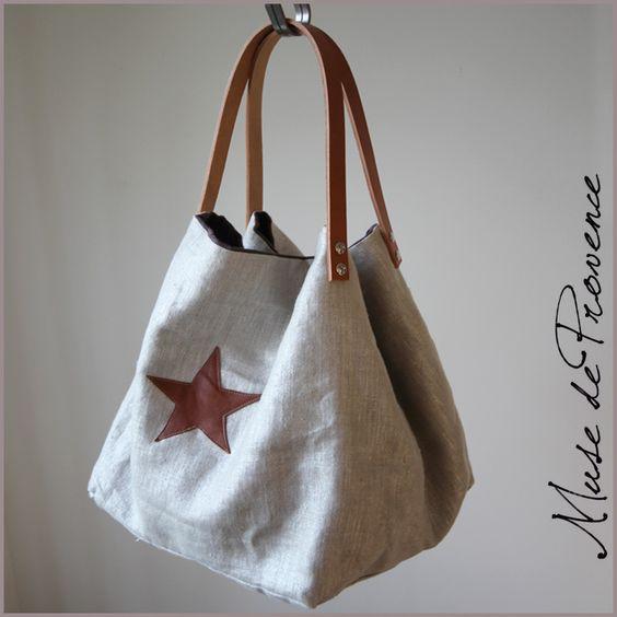 sac cabas en lin argenté et étoile en cuir 2