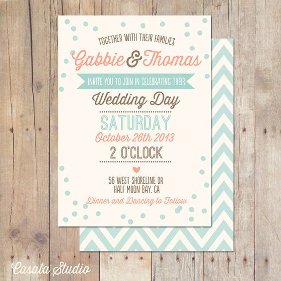 Rustic Vintage Mint Peach Turquoise Wedding invitation printable by caili hartman www.casalastudio.etsy.com