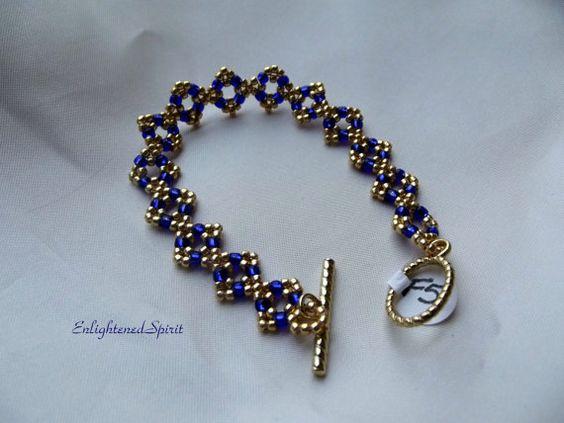 Blue and gold bracelet cobalt indigo navy by EnlightenedSpirit