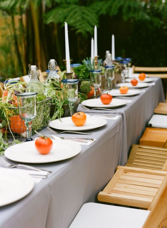 wants vegetables in her centerpieces... more people should do this!