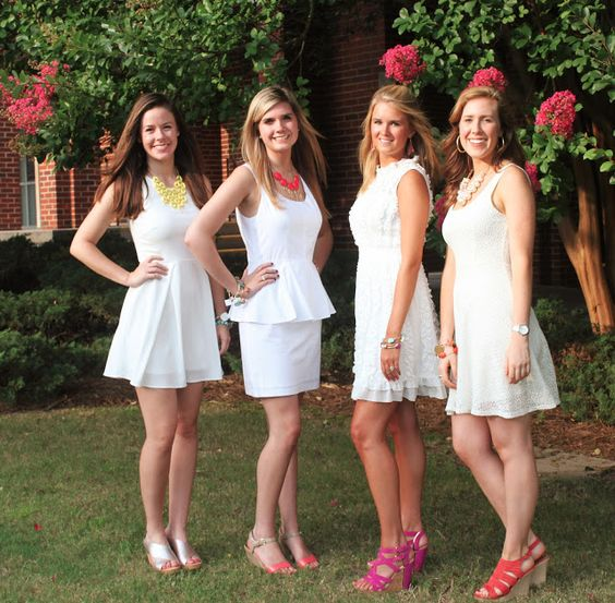 White Dress Bid Day Look for Sorority Recruitment on the ...