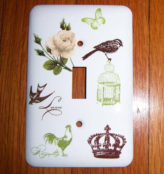 Romantic Parisian themed steel single light switch cover
