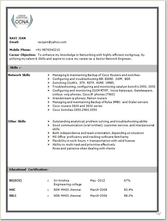 Ccna Fresher Resume Format Free Download In 2020 Network Engineer Engineering Resume Sample Resume