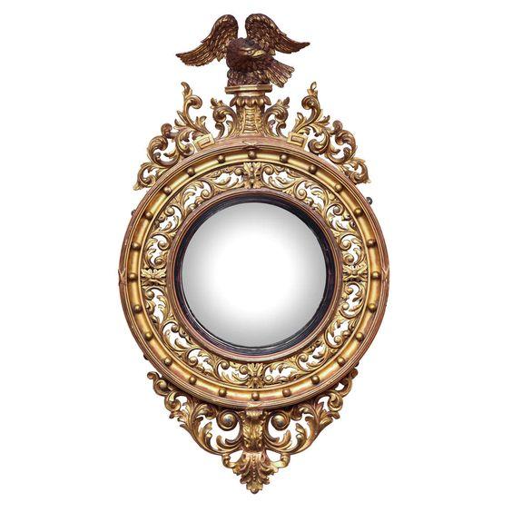 English, William IV, Gilded Convex Mirror - England circa 1830 - Dim: H: 4 ft. 6.5 in. (138 cm), Diam: 31.5 in. (80 cm).
