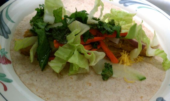 Garlic and Sesame Tempeh strips (or browned chicken) tacos with Kale ...