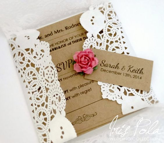 SALE 20% OFF, Lace Invitation, Doily, Wedding, Recycled, Paper Rose, Retro, Burlap, Invitation Set, Country, Rustic