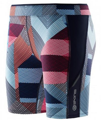 SKINS A200 Women's Compression Running Shorts in This Way Up Style - front