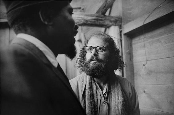 """Jim Marshall caught beat poet Allen Ginsberg's face falling apart as jazzman Monk walked by. """"He was looking at God"""" said Marshall.  (Monterey 1963)"""