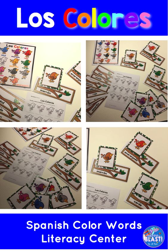 Spanish color words learning center task cards and posters. Pajaritos de Colores