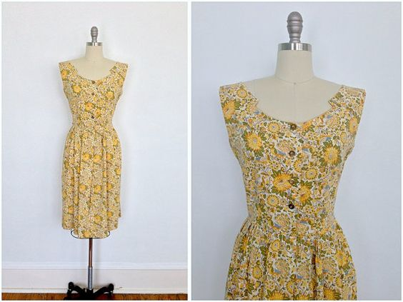 1950s Day Dress / 50s Vintage Sundress / Yellow Floral Peacock Bird Novelty Print / Bill Sims / from ThisBlueBird