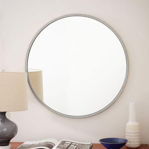 Metal framed round wall mirror brushed nickel west elm bathroom mirrors pinterest kid for Metal framed bathroom mirrors