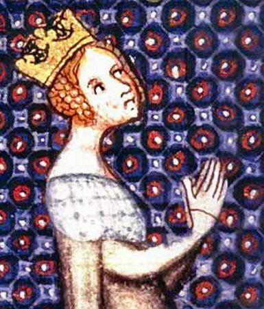 Alienor d'Aquitaine en prière - détail d'une miniature du XIVème: