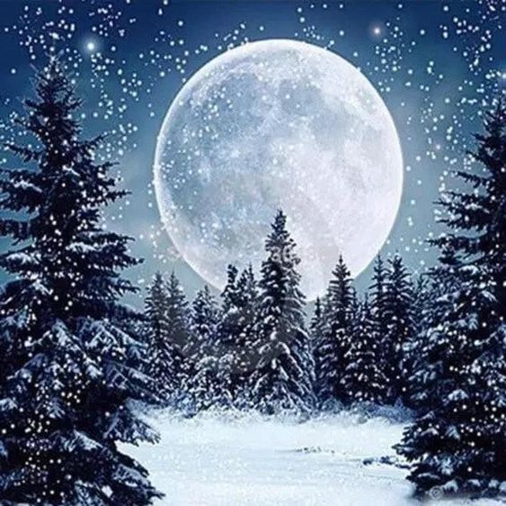 US Seller. 40x40cm Full Moon Stars Snow Trees Night. | Etsy