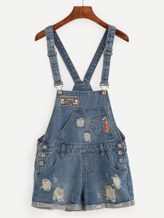 Shop Embroidered Patch Ripped Overall Denim Shorts - Blue online. SheIn offers Embroidered Patch Ripped Overall Denim Shorts - Blue & more to fit your fashionable needs.