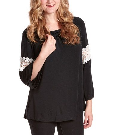 Look what I found on #zulily! Black Lace-Sleeve Scoop Neck Tunic - Women #zulilyfinds