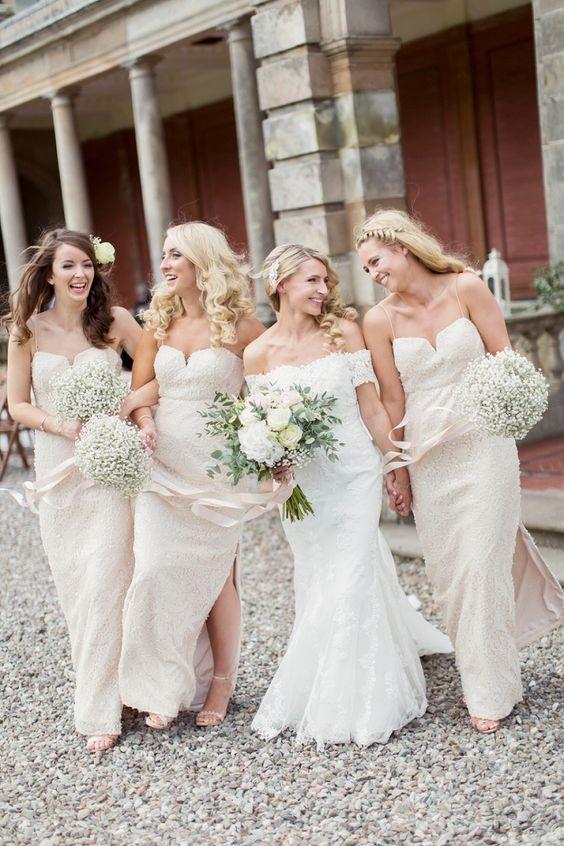 Sequin Long Bridesmaid Dresses Pale Pink Ribbon Bouquets Romantic Metallic Blush Wedding http://www.craigsandersphotography.co.uk/