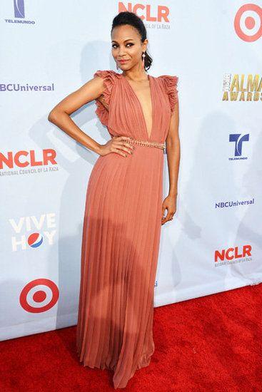 @zoesaldana looks stunning yet again at the ALMA Awards!