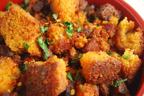 Spicy Cornbread & Chorizo Stuffing | Chorizo, Stuffing and Cornbread
