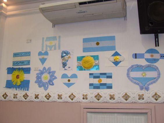 Dia de la bandera argentina decoracion buscar con google for Banderas decorativas para jardin