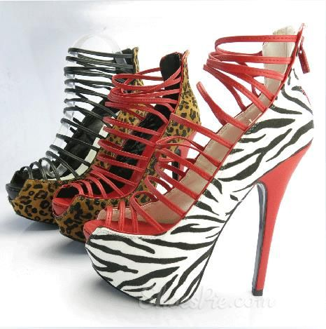 Sexy Zebra Print Suede Cut-Outs High Heel Sandals