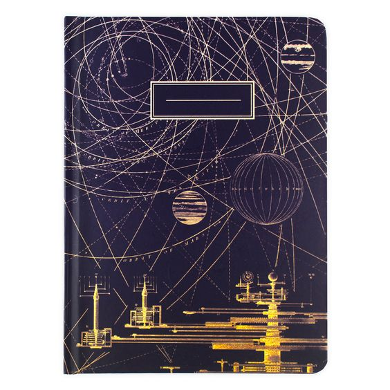 """Record starry-eyed pursuits, academicor otherwise in this hard-cover journal featuringan intriguing planetary orbit paper, grounded in the deepest purple. Smyth-sewn bindingto lie flat when open; 112 pages, 56 grid pages on the left. 6.5 x 9"""""""