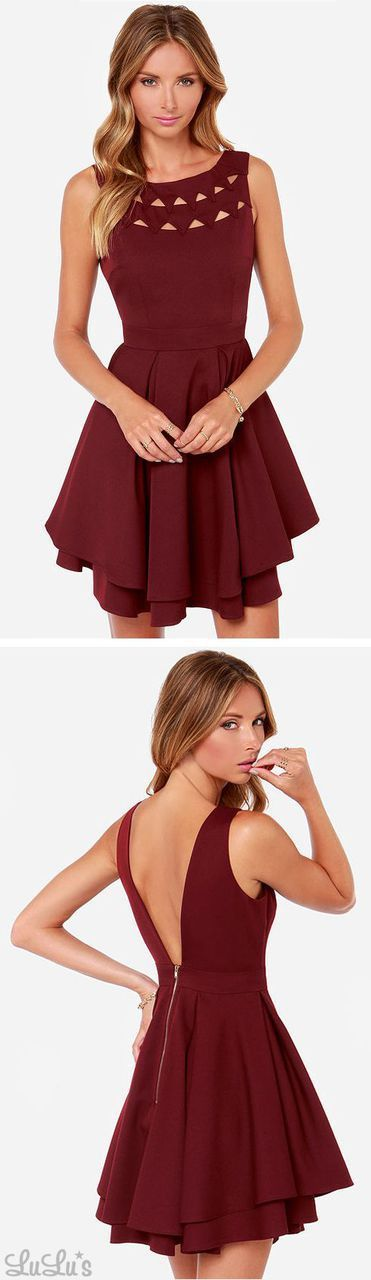 LULUS Exclusive Flirting With Danger Cutout Burgundy Dress. But maybe a different color
