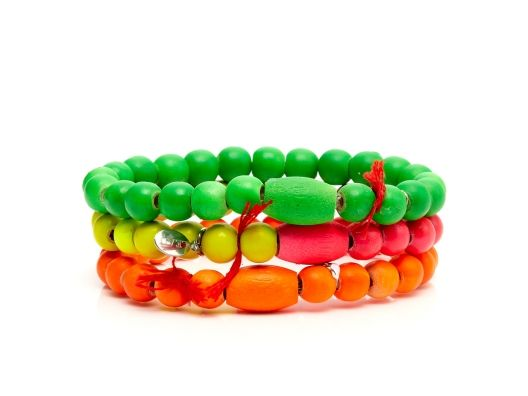 Neon Wood Bead Bracelet Set by Lead: Neon Bright, Beads Bangles, Neon Stuff, Colors Happy, Hb Neon
