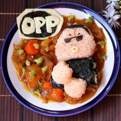 Tomato rice with Japanese curry made into a cartoon version of Korean singer, Psy (Oppa Gangnam Style).