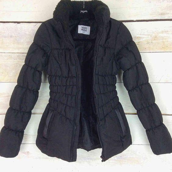 Ladies Vero Moda Black Fitted Fleece Collar Quilted Puffa Jacket