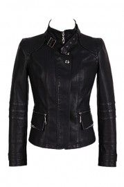 Band Collar Black Biker Jacket #Romwe