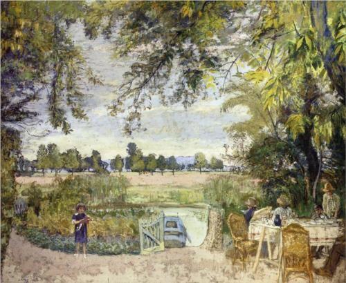 Figures Eating in a Garden by the Water - Edouard Vuillard