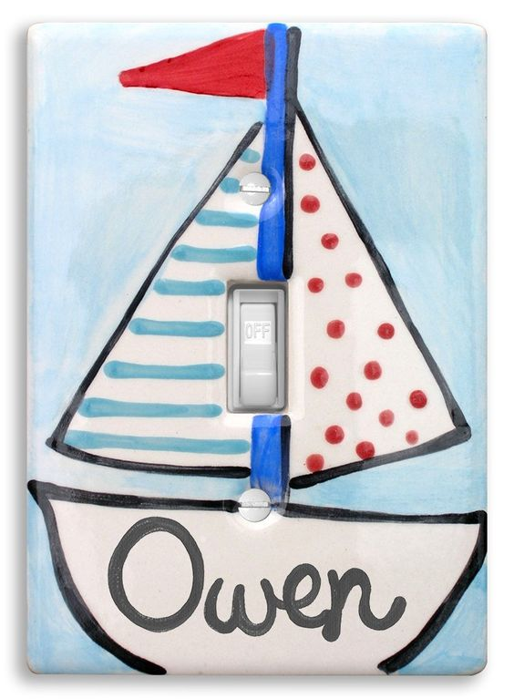 Sailboat Light Switch Cover, Hand Painted Ceramic, Personalized Nursery Light Switch, Nautical Nursery Decor, Little Worm and Company. Perfectly personalized ceramic switch plates! As adorable and unique as the little ones whose name is on them. I hand paint and kiln fire each and every piece to ensure a beautiful long lasting keepsake.