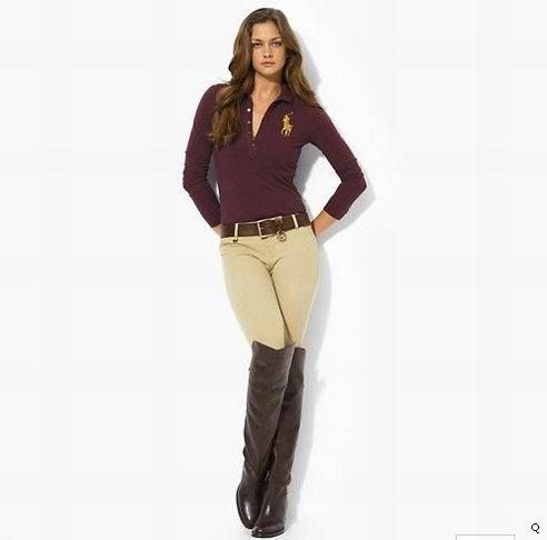 Wholesale Burgundy Ralph Lauren Turnover Collar Long Women Polo Shirts