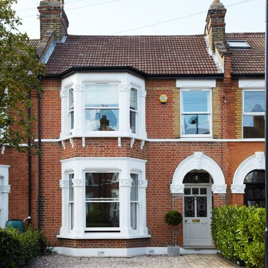 Terrace sash windows and bay windows on pinterest for Victorian terraced house garden design