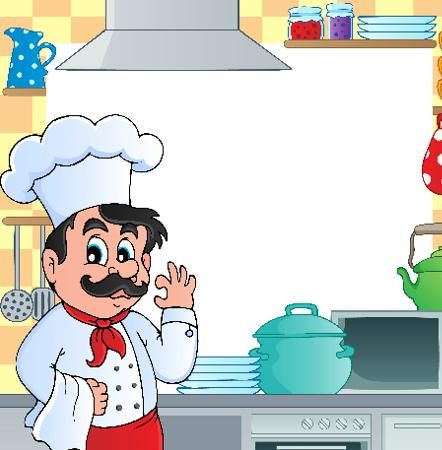 Повар на кухне - клипарт в векторе