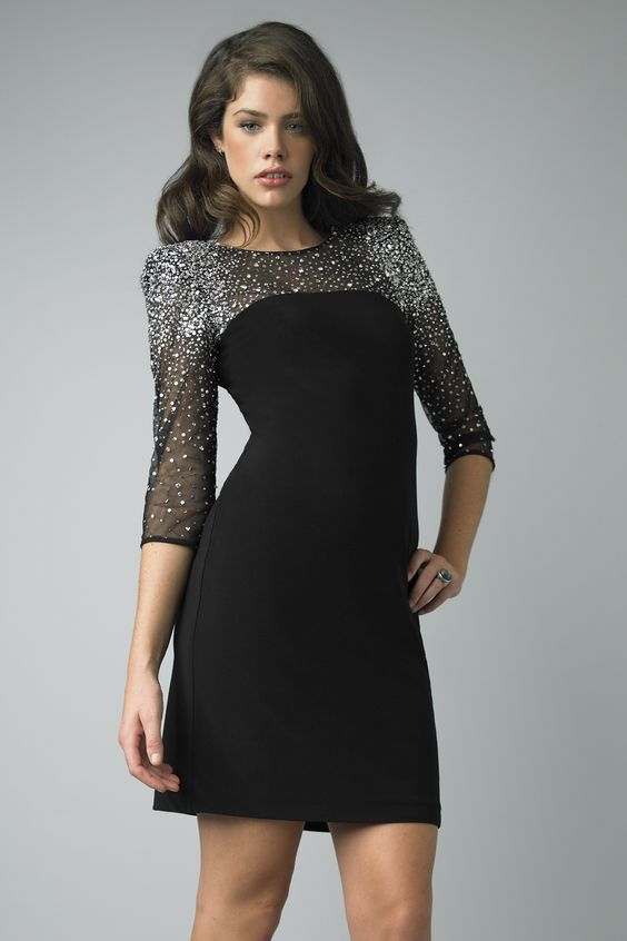 petite black cocktail dresses with sleeves for winter  ... black ...