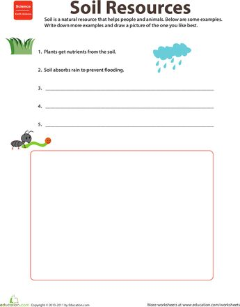 Natural resources soil earth day natural and worksheets for Soil 2nd grade